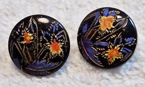 Lot Of 2 Two Antique Black Glass Buttons Flowers Gold Blue Red Iris