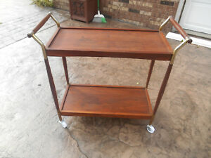 Vintage Mid Century Danish Modern Walnut Teak Bar Tea Cart Server