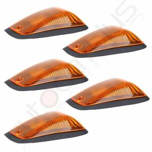 5x Us Fast 12v Amber Cab Roof Top Marker Clearance Light 5xbase For Chevy Gmc