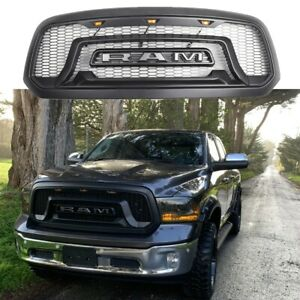 For 2013 2018 Dodge Ram 1500 Grille Abs Honeycomb Grill Rebel Style Matte Black
