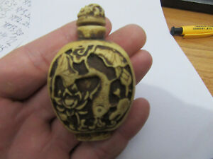 Chinese Master Hand Painted Characters The Story Cattle Bone Snuff Bottle S02