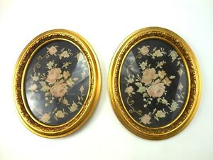 Pair Antique Framed Petit Point Needlepoint In Matching Gold Gilded Gesso Frames