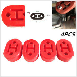 4pcs Car Rubber Exhaust Hanger Pipe Mounting Bracket 11mm Holes Hanger Red Valid