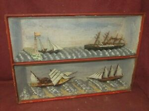 Antique Diorama Ship Model Maritime Nautical Folk Art