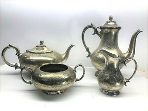 Victorian Engraved Tea Coffee Service Set Epns Nickel Silver High Quality