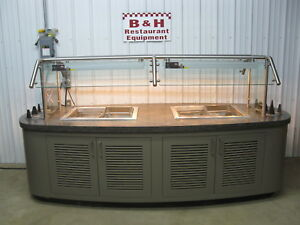 114 X 48 Island Salad Bar Refrigerated 4 Pan Cold Well Buffet Table 9 6 X 4