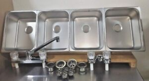 4 Large Compartment Concession Sinks Value Set 3 Dish 1 Hand Washing Sink