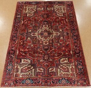 Persian Heriz Tribal Hand Knotted Wool Red Navy Fascinating Oriental Rug 8 X 11