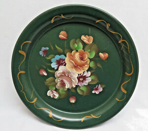 Vintage Hand Painted Green Pedestal Round 10 Tole Tray Rb13