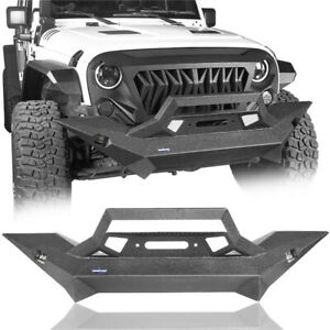 For Jeep Wrangler Jk 07 18 Matte Black Front Bumper W Winch Plate