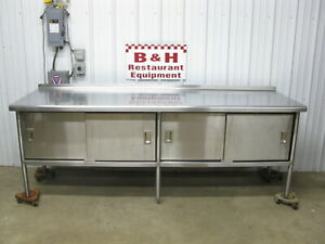 96 X 30 Heavy Duty Stainless Steel 4 Door Kitchen Cabinet Work Prep Table 8