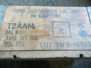 vintage  45. cal. wooden ammo box