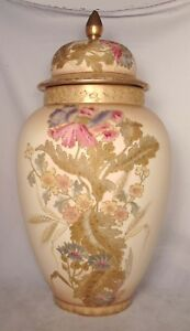 Royal Bonn Franz Anton Mehlem Large Antique Gold Flowers Floor Ginger Jar German