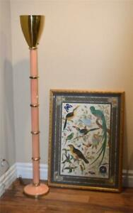Hollywood Regency Pink Ceramic Brass Torchiere Floor Lamp One Of A Kind