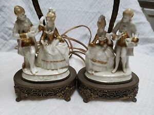 Dresden Porcelain Table Lamp Set Courting Couple Rare Antique Matching Pair