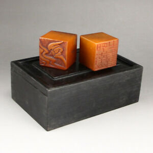 A Pair Vintage Shoushan Stone Tianhuang Stone Seals