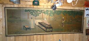 Antique Vintage Japanese Silk Sugi Screen Large 8ft