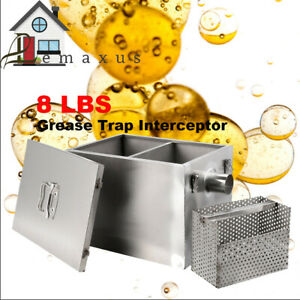 Us Grease Trap Interceptor 8lbs 201 Stainless Steel Removable Baffles