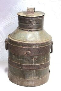 Vintage Antique Indian Handmade Iron Milk Can Decorative Collectible Pt 1