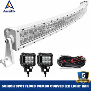 3d White 50inch Curved 672w Led Light Bar Offroad 4wd Driving Truck Boat Atv 52