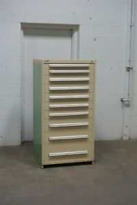 Used Stanley Vidmar 10 Drawer Cabinet Industrial Tool Box Storage 1650