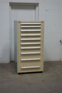 Used Stanley Vidmar 10 Drawer Cabinet Industrial Tool Bin Storage 1643