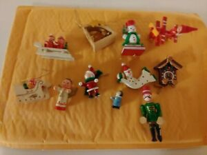 Vintage Antique Lot Of 11 Christmas Tree Ornament Wood Hand Painted