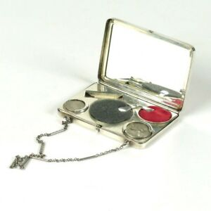 Vtg Sterling Silver Compact Coin Case Rouge Wristlet Wightman Hough Co