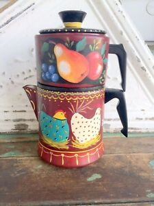 Vintage Coffee Pot With Hand Painted Chickens Rooster Primitive Rustic