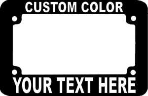 Custom Personalized Metal Black Motorcycle License Plate Frame White Font