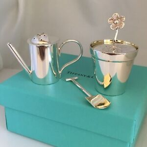 Tiffany Co Sterling Silver Miniature Garden Pepper Shaker And Salt Cellar