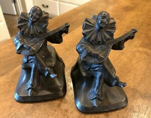 Vintage Antique Art Deco Nuart Pierrot Spelter Metal Clown Bookends