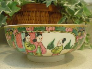 Antique Chinese Qing Rose Medallion Bowl