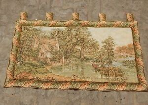 Vintage French Beautiful Verdure Scene Tapestry 107x60cm A1209
