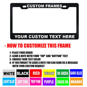 Custom Personalized Black Metal License Plate Frame Choose Your Text Color