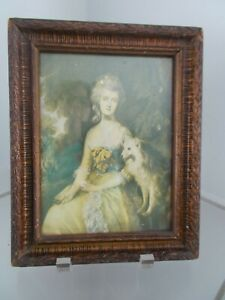Vintage Wooden Picture Frame Gusso With Victorian Lady Print Holds 7 5 X 9 5