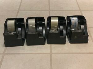 Lot Of 4 Commercial 2 in 1 Heavy Duty Tape Dispenser 1 And 3 Cores Black