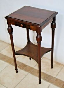 Antique Mahogany Rectangle Side Table With Drawer And Bottom Shelf By St Johns