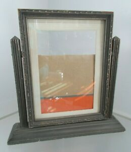 Vintage Art Deco Carved Wooden Swing Picture Frame On Stand W Glass Hold 8x6