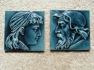 Reduced Antique English Victorian Pair High Relief Majolica Maw Tiles Fab Cond