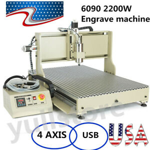2200w 6090 4 Axis Usb Router Engraver Engraving Milling Machine Usa Ship