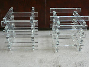 Pair Lucite Slat Stacked Table Bases Manner Of Paul Mayan