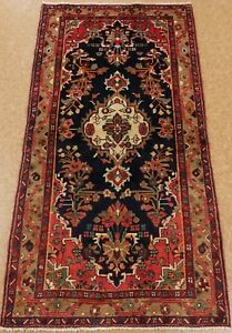 Persian Hamedan Tribal Hand Knotted Wool Navy Electrifying Oriental Rug 4 X 7