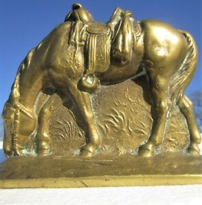 Antique Solid Brass Signed Saddled Equestrian Horse Bookend Doorstop Paperweight