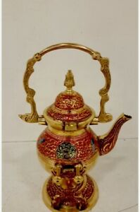 Vintage Brass Cloisonn Asian Tea Pot With Warming Stand