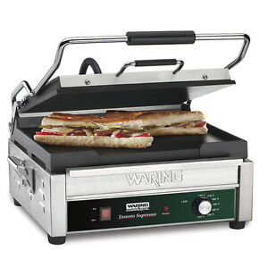 120 Volt Smooth Top Smooth Bottom Restaurant Panini Sandwich Toasting Grill