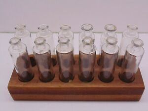 Antique Apothecary Set With Walnut Base Very Cool And Usable 12 Bottles