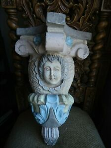 Large Hand Carved Wood Baroque Style Winged Angel Cherub Corbel Scone