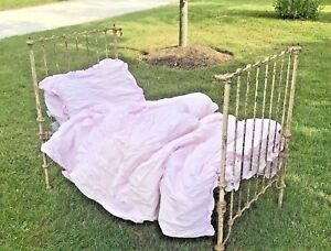 Antique Victorian Wrough Cast Iron 3 Piece Kids Bed