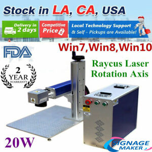 Usa 110v 20w Split Fiber Laser Marking Engraving Machine Rotary Axis Include